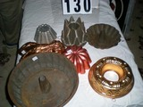 Seven Vintage Molds; some Copper