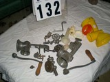Vintage Group of Meat Grinders with Implements; Two Metal; One Plastic