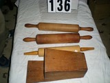 Vintage Three Wooden Rolling Pins, 19