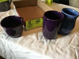 Three Cole Pottery Pieces; includes Mug, Glass with Indenture, and Creamer; 2008