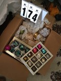 Box Lot of Vintage Glass Christmas Ornaments; includes Noelle Glass Ornaments (in box)