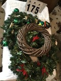 Three Christmas Wreaths; includes Green Ornaments and Gold Bow Wreath (19