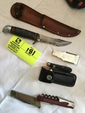 Group of Vintage Knives, Vintage Wine Opener, Old Gas Cigarette Lighter