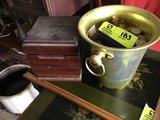 Brass Champagne Bucket filled with Cigars and Small Humidor filled with Cigars