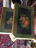 Pair of Nesting Tables, Painted Black and Gold with Floral Scenes