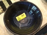 Pottery Bowl by McKay, Brown Speckled Outside/Cobalt Blue Inside, 13
