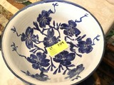 Pottery Bowl by Carlie Tart (Benson, NC Potter) 1992, White and Blue Floral, 16