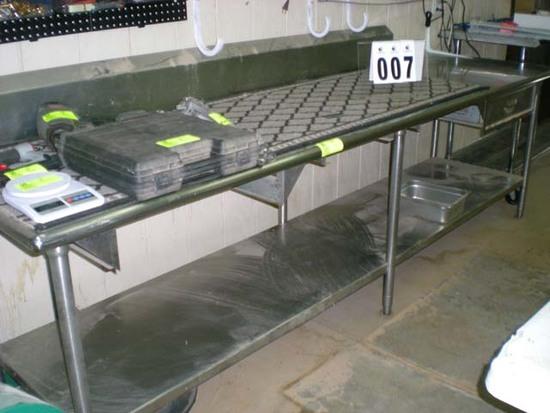 """Stainless table 9'9""""l x 28""""d, 7'10"""" backsplash, 34"""" t bottom shelf false drawer"""