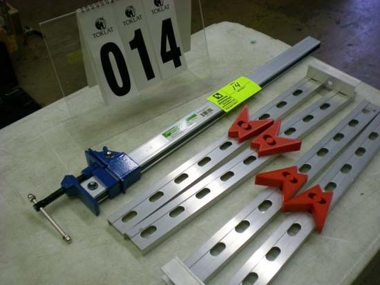 "1 Pittsburgh 24"" bar clamp, pair of adjustable legs 20""l"