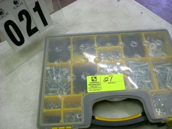 17-compartment case with misc. bolts, nuts & washers