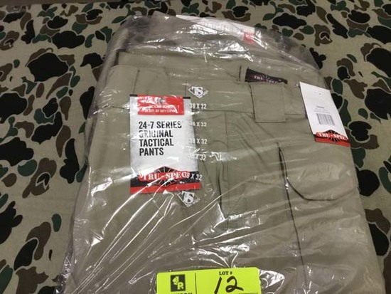 Two Pair Truspec 24-7 Series Tactical Pants, Size 38x32, Khaki