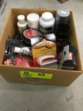 Box Lot of Shoe Care Products; includes Polish, Cleaner, Brushes, Leather Restorer, etc