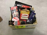 Box Lot of Shoe Care Products, includes Polish, Cleaner, Brushes, Boot Patch, Saddle Soap
