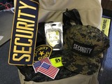 Security Camo Cap, Security Patches, and Security Badge
