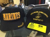 Semper Fi Black Cap with Yellow Gold Lettering and Marines Black Cap with Yellow Gold Lettering