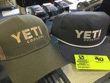 Yeti Coolers Gray Cap with White Lettering and Yeti Coolers Khaki and Olive Cap with Mesh Back