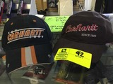 Carhartt 1889 Brown Cap with Red Lettering and Carhartt 1889 Black Cap with Orange