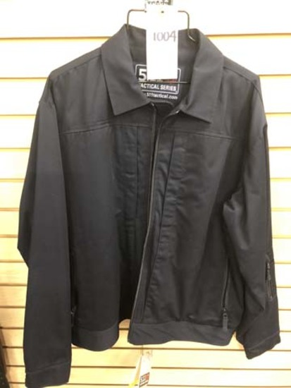 5.11 Tactical Men's Leather Neck Jacket #48300, Size Large, Dark Navy