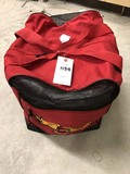 Large Red Canvas Carry Bag with Fire Fighter Emblem, approx. 16