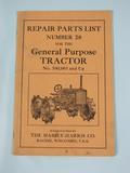 Massey Harris Repair List for General Purpose Four Wheel Drive Tractor