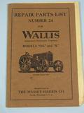 Wallis Repairing Parts List for Wallis Tractors