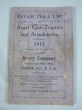 Avery  1915 Avery Repair Price List for Gas Tractors