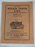 J.I. Case Repair Parts List for Model