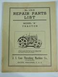 J. I. Case Repair Parts List for Model