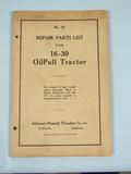 Rumely Repair Parts List for 16-39 OilPull Tractor