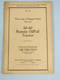 Rumely Repair List for 20-40 OilPull