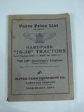 Hart Parr Parts Price List 18-36 Tractors
