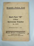 Hart Parr Repair Price List for Hart Parr 30