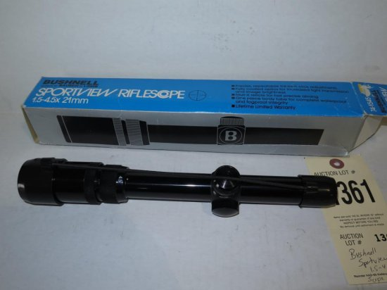 Bushnell sportview 1 5-4 5x21 scope, tag#1361   Firearms
