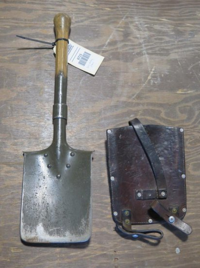 Swiss military shovel with leather sheath, tag#6715