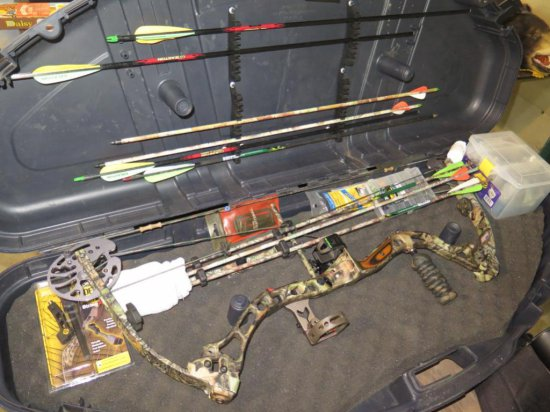 "Bowteck 2007 Alleg right hand 60# 29"" bow w/arrows, case & more, tag#6788"
