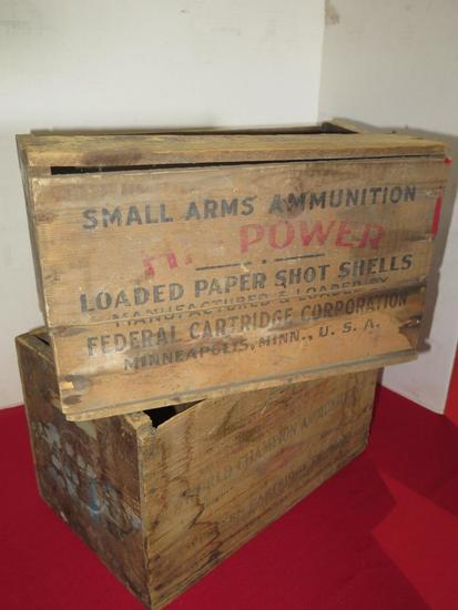 Western & Federal wooden ammo crates, tag#5207
