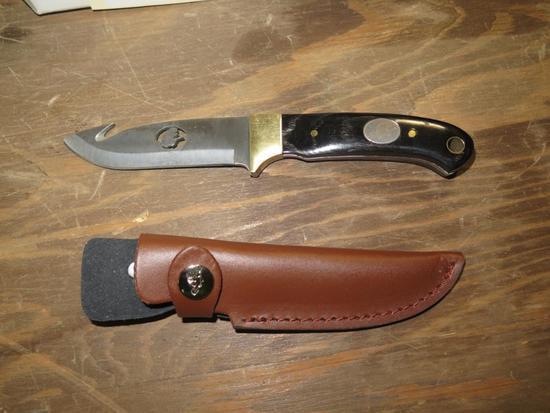 """NWTF 8"""" knife w/leather sheath, tag#5214"""