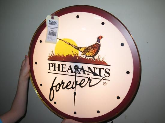 """Pheasants Forever lighted wall clock, 20"""" diameter, tag#5215"""