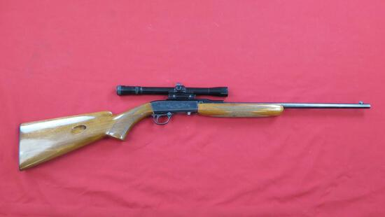 Browning 22 .22LR semi auto, Belgium made, with Tasco 4x20 scope, tag#1201