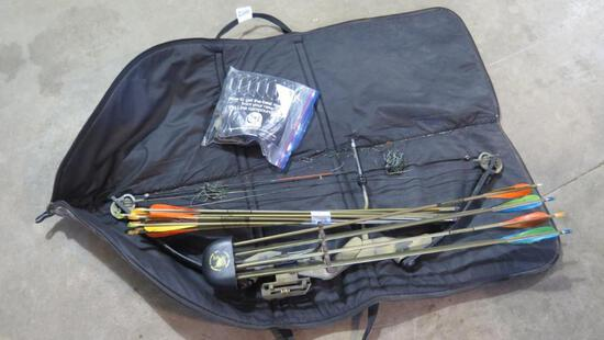 Proline Coumpound bow with broadheads, arrows, releases, etc, tag#1335