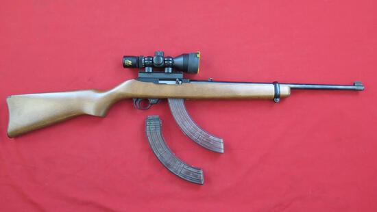 Ruger 10/22 .22LR semi auto with scope and 2 mags including 30rd mag, tag#1