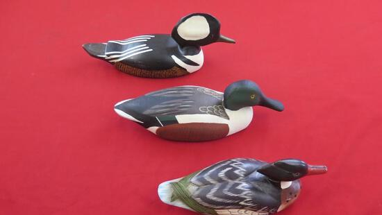 3 wooden hand painted duck decoys, tag#1553
