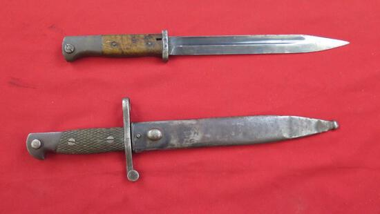 """2 Military Bayonets, one W/scabbard, to 15"""", tag#1561"""