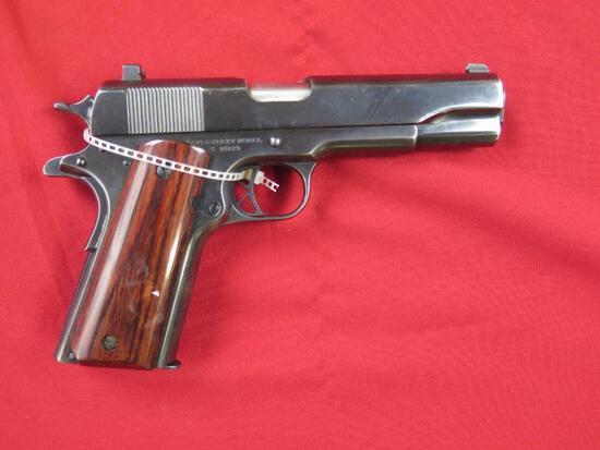 Colt 1911 45Auto semi auto pistol, 1917 commercial lower, Remington Rand up