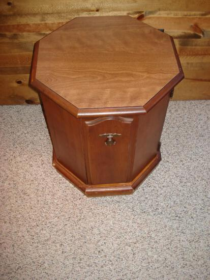 Vintage Solid Wood Octagonal side Table with lower cabinet