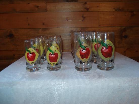 Handpainted Glass Set - Red Delicious
