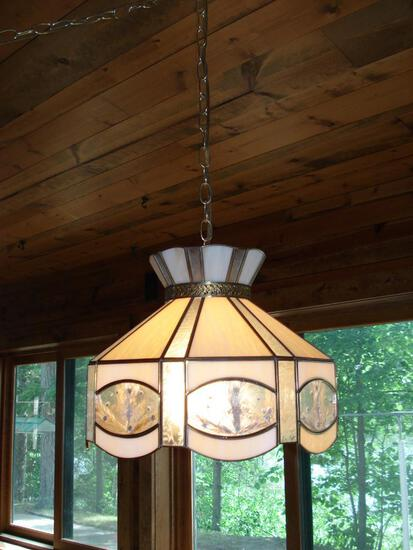 Hanging stained glass bar light
