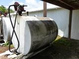 1000 GALLON FUEL TANK ON SKIDS W/TRANSFER PUMP