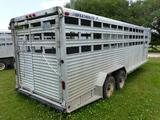 1992 FEATHERLITE 24'X7' ALUM STOCK TRAILER