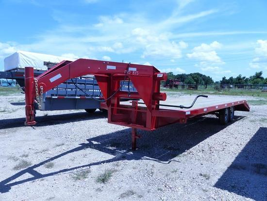 20' GN FLAT BED TRAILER W5' DOVETAIL TANDEM AXLE, RAMPS, BILL OF SALE, RED